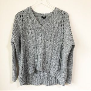 Express | Gray cable knit sweater